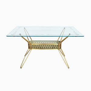 Italian Mid-Century Brass and Glass Coffee Table, 1950s