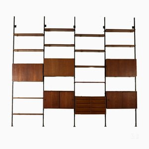 Vintage Bookcase in Teak Veneer by Paolo Tilche for Arform