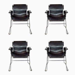 Sedie postmoderne in pelle e placcate in cromo, Itala, set di 4