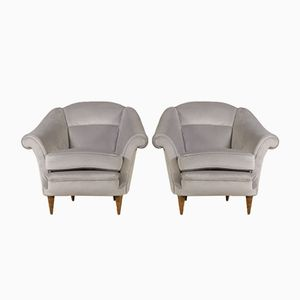 Vintage Armchairs in Velvet Upholstery, Set of 2