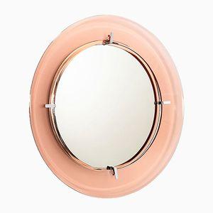 Specchio da parete in vetro rosa di Cristal Art, Italia, anni '70