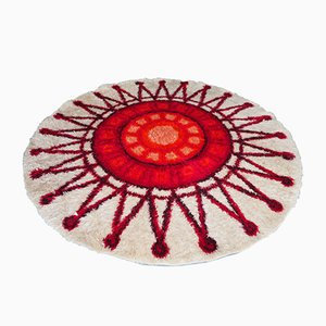 Circular Red & Cream Sun Patterned Shag Pile Rug, 1960s