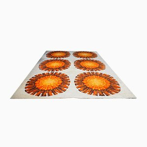 Large Orange & Cream Floral Shag Pile Rug, 1960s
