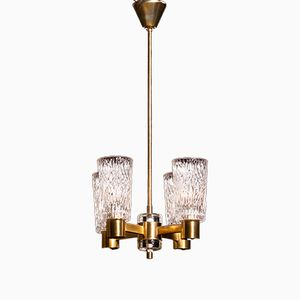 Brass and Crystal Glass Chandelier from Orrefors, 1950s