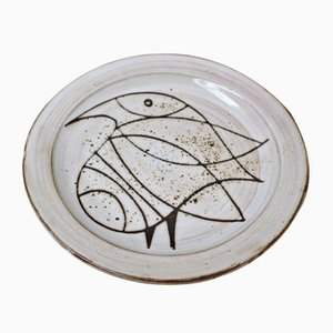 Ceramic Plate with Stylized Bird by Jacques Pouchain, 1960s