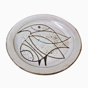 Piatto in ceramica con uccello stilizzato di Jacques Pouchain, anni '60