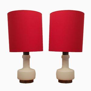 Lampes en Verre Laiteux avec Base Illuminée et Abat-Jour Rouge, 1970s, Set de 2