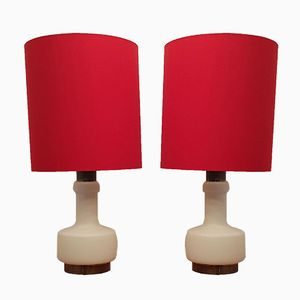 Milk Glass Lamps with Illuminated Base and Red Shade, 1970s, Set of 2