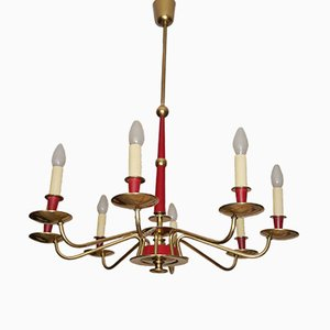 German Chandelier in Brass & Red Bakelite, 1950s