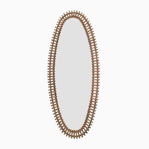 Specchio da parete grande Mid-Century in vimini