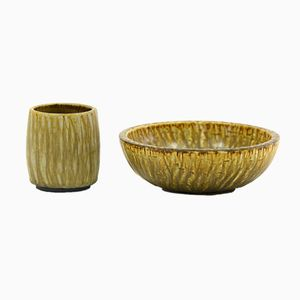 Rubus Cup and Bowl in Stoneware by Gunnar Nylund for Rörstrand, 1960s