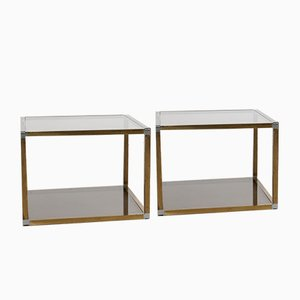 Brass and Glass Coffee Tables by Romeo Rega, 1970s, Set of 2