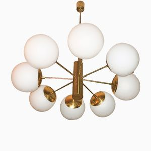 Vintage Italian Brass and Glass Chandelier, 1970s