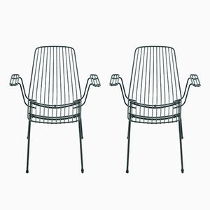 Schwarze Mid-Century Gartenstühle, 1960er, 2er Set