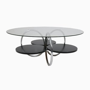 Mid-Century French Tubular Steel and Glass Coffee Table, 1950s