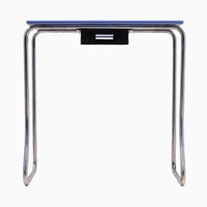 Vintage French Modernist Blue Opaline & Tubular Chrome Hallway Console