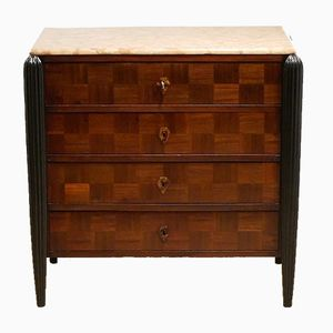 Vintage French Art Deco Mahogany Checkerboard & Marble Chest of Drawers