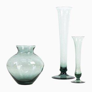 Turmalin Serie Rauchgas Vasen von Wilhelm Wagenfeld für WMF, 1950er, 3er Set