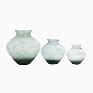 Turmalin Series Smoked Glass Vases by Wilhelm Wagenfeld for WMF, 1950s, Set of 3