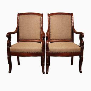 Antike Französische Mahagoni Armlehnstühle, 2er Set