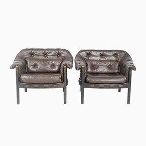 Leather Armchairs by Arne Norell for Coja, 1960s, Set of 2