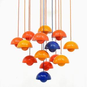 Lampade a sospensione multicolore di Verner Panton per Louis Poulsen, anni '60, set di 14