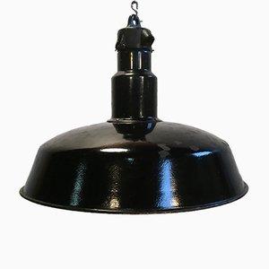 Mid-Century schwarz emaillierte Fabrik Deckenlampe, 1950er