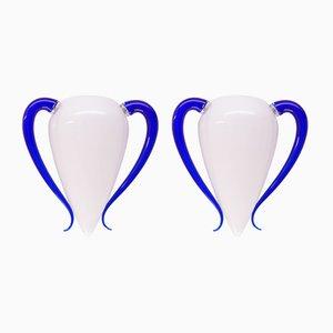 Italienische Vintage Murano Glas Wandlampen von Barovier & Toso, 2er Set