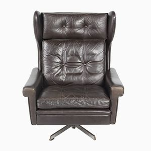 Danish Mid-Century Leather Swivel Chair by Svend Skipper