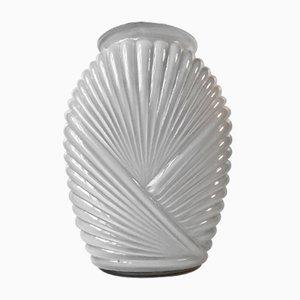 Ribbed Art Deco Vase in Cased White Opaline Glass, 1930s