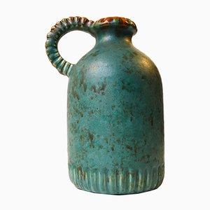 Green Art Deco Handled Ceramic Vase by Michael Andersen, 1940s