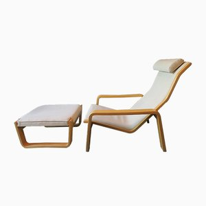 Pulkka Lounge Chair with Footrest by Ilmari Lappalainen for Asko, 1963