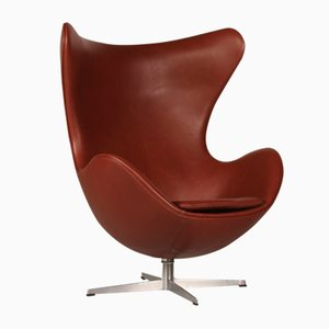 Cognac Leather 3316 Egg Chair by Arne Jacobsen for Fritz Hansen, 1969