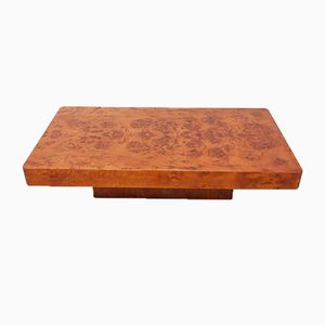 Hollywood Regency Italian Burl Veneer Coffee Table