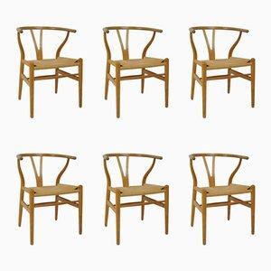 Wishbone Chairs by Hans J. Wegner for Carl Hansen, 1950s, Set of 6
