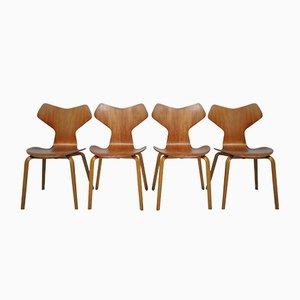 Dänische Vintage Grand Prix Stühle von Arne Jacobsen für Fritz Hansen, 1960er, 4er Set