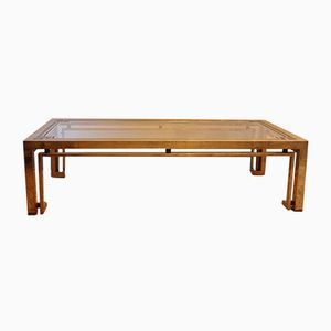 Italian Brass & Faux Tortoiseshell Coffee Table, 1970s