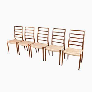 Chaises de Salon Modèle 82 à Dossier Haut par N.O. Møller pour J.L. Møllers, 1954, Set de 5
