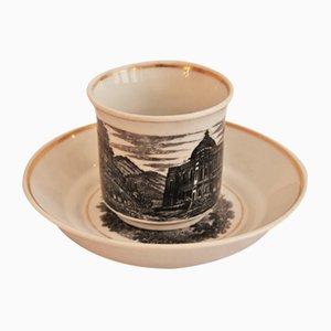 Antike Schlaggenwald Tasse mit Unterteller von Lippert & Haas