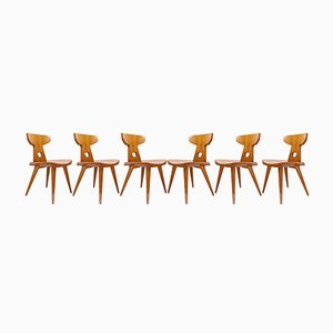 Scandinavian Modern Pine Chairs by Jacob Kielland Brandt for Christiansen, 1960s, Set of 6
