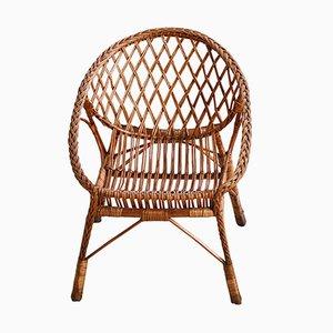 Chaise en Osier et Rotin en Forme de Coquille, 1960s