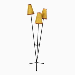 Französische Raffia Dreibein Lampe, 1960er