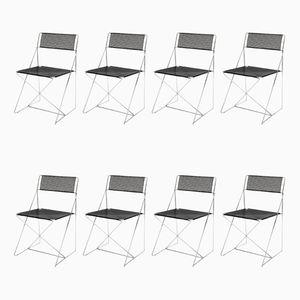Chaises Empilables X Line par Niels Jørgen Haugesen pour Hybodan, 1977, Set de 8
