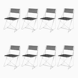 X Line Stacking Chairs by Niels Jørgen Haugesen for Hybodan, 1977, Set of 8