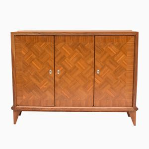 Vintage Large French Art Deco Mahogany Marquetry Linen Cabinet
