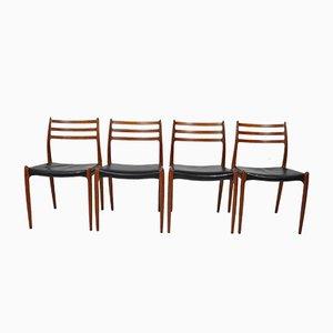 Vintage Danish Dining Chairs by Niels O. Møller for J.L. Møllers, 1960s, Set of 4