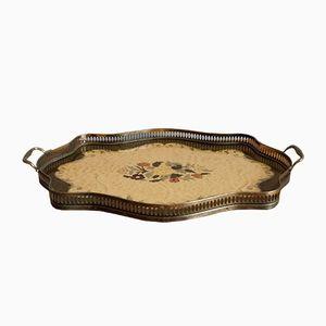 Antique English Mahogany and Silver Rim Tray