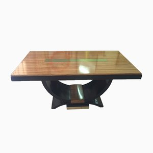 Französischer Art Deco Zebra Holz & Messing Table, 1930er