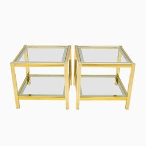 Hollywood Regency Brass Chrome Side Tables, 1970s, Set of 2