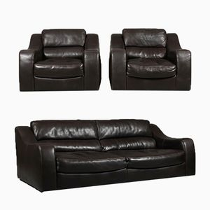 Danish Leather Lounge Suite from Ilva, 1980s
